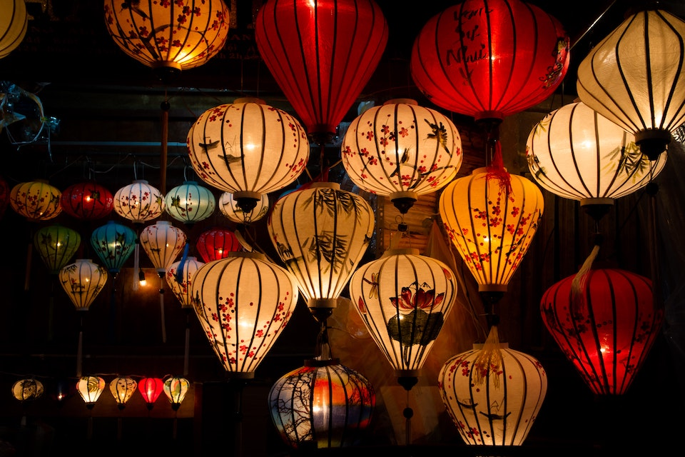 Lanterns at night in Hoi An, Vietnam.